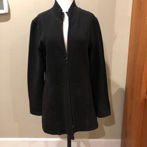Eileen Fisher Waffle Texture Black Jacket Zip M
